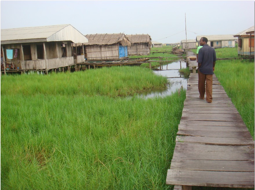A warf which serves as a walk way between short distances, long distances are either swum or gone by ferry boat